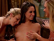 Curvy blonde AJ Applegate dragged into threesome with stepsister and her mistress 6