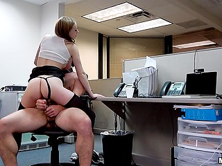 Office chick didn't mind having sex with IT guy who caught her performing solo cam show