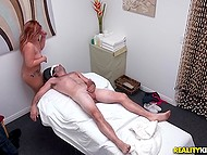 Asian masseuse touches client's cock and man gives redhead money for cock riding 8