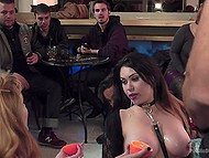 Chick with big booty is fucked from behind in fresh air then she sucks cock in front of people in the bar 10