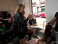 Chick with big booty is fucked from behind in fresh air then she sucks cock in front of people in the bar 8