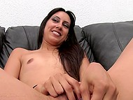 Latina with tiny titties has mission to play with vibrator before blowjob and she successfully does it 10