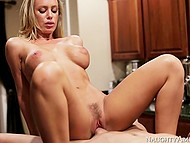 Lover comes to unsatisfied blonde Nicole Aniston with big tits and fucks her on kitchen countertop when her husband is at work 11