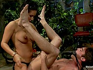 Busty Latina dominant in stockings gives submissive guy to lick her pussy and shoves strapon into his ass 9