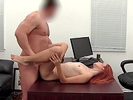 Good-looking redhead with small titties discovers sexual potential at porn casting 8