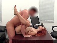 Good-looking redhead with small titties discovers sexual potential at porn casting 9