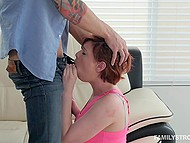 Short-haired redhead wants to develop cocksucking skills and stepbrother helps her do it 8