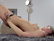 Slender long-legged model slowly undresses to the music and shows all treasures she has 6