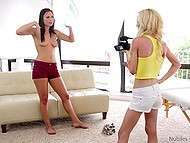 Coquette asks her friend to help her make a sexy video but they both want lesbian experience 6