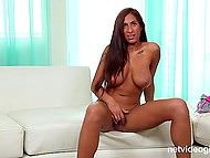 Sexy Latina tells about herself at the porn casting and completely denudes in front of the camera 10