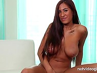 Sexy Latina tells about herself at the porn casting and completely denudes in front of the camera 11