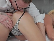Busty MILF will suck man's cock only after he spanks her ass with paddle and licks shaved pussy 5