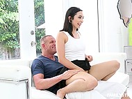 Beautiful young brunette doesn't make breakfast for stepdad but she blows his cock in honor of holiday 10