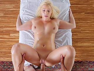 Blonde has such a beautiful breasts that masseur risked his job just to bonk her once
