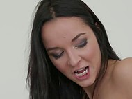 Pretty brunette chick with a phone in her hand sees man's good penis and hurries to deal with it 5
