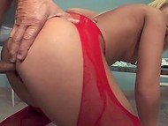 Raunchy old doctor checks anal talents of blonde nurse in lacy red stockings and cums on face 9