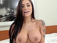 Full-bosomed Latina beauty surprises porn agent with her wonderful face and body forms 7