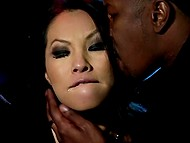 Steamy oriental pornstar Asa Akira is crazy about night life and she is going to enter club giving blowjob to guard 6