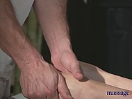 Young doll with nice tattoo on the hand enjoys the most gentle oil massage with cunnilingus 3
