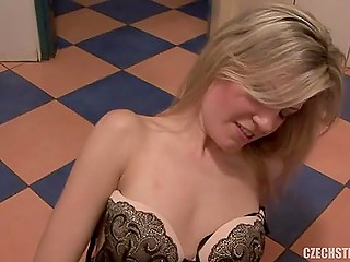 Czech whore wants to earn some money and does it with sponsor on dirty floor of public toilet
