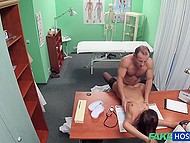 Czech doctor meets so seductive patient in stockings that he can't let her go without checking pussy out