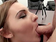 Enjoyable girl plays with vibrator in front of cameraman and tries to surprise him with oral skills