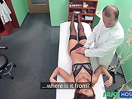Patient in stockings, sexy lingerie and with shaved pubis does everything perverted doctor tells her 4