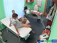 After doctor makes sure that patient's pussy is okay, she sits and watches girl sucking boyfriend's cock