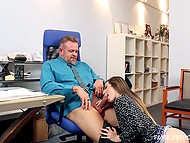 Dirty-minded young stepdaughter reaches the goal and gives older man blowjob in his office
