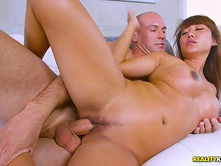Asian MILF with big tits serves bald man's penis as soon as finds out that it's pretty big