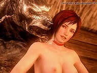 Cartoon porn story of 'Little Red Riding Hood', where wolf and dinosaur double penetrate busty girl 5