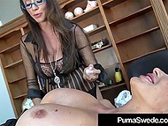 Stacked Swedish secretary Puma Swede comes to Ariella Ferrera's office to lick her pussy one more time 4