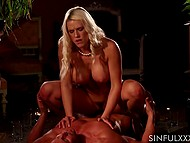 Big melons and trimmed pussy of blonde princess look pretty fascinating while fucking
