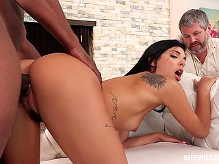 Brunette is going crazy because of strong black fucker while her weak-willed guy is watching them