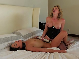 Girl comes to Cory Chase's house and busty mistress in corset treats her with flogger and sex toys
