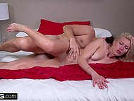 Cameraman pops off early when such a sexy blonde slut is spreading legs and moaning so sweet 8