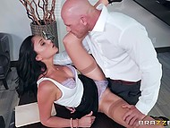 Winsome Latina babe Ariana Marie shows tits to bald employer but she has to serve his cock for job