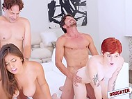 White and Latin pals decided to switch stepdaughter and perform passionate group sex
