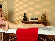 Nice blonde-haired chick comes to SPA permanently because loves hard cock of masseur 7