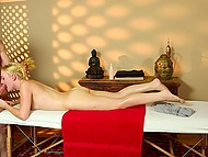 Nice blonde-haired chick comes to SPA permanently because loves hard cock of masseur 8