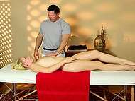 Sweet miss was going to get a pleasant massage only but she couldn't resist when feeling a boner