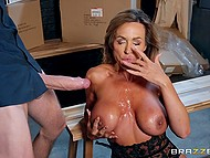 Full-bosomed diva Aubrey Black in sexy lingerie puts hand in manager's pants and man fucks her 11
