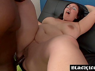 Husband allowed BBW with dark hair to invite handsome black guy and took his cock in mouth and pussy