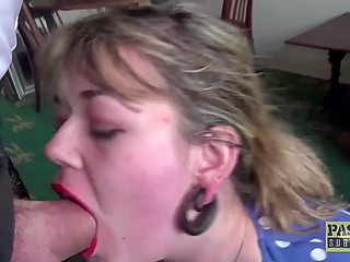 Cute girl Madison Stuart with big chest and butt is gagged then bearded man penetrates her vagina
