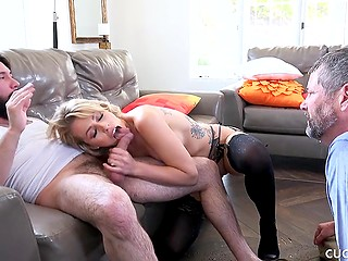 Grey-haired cuckold has not only to watch how his wife is getting fucked but also to get squirt on face
