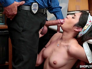 Marvelous Latina thief gets caught so she should serve lustful security man in his little room