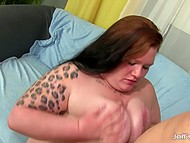 Fat bitch with a lot of tattoos and piercing really loves good fucking and taste of fresh cum 5