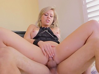 Happy blonde lassie with perfectly shaved pubis gets a lot of cum on it after hot love-making act