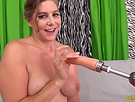 Mature lady admitted she is already a grandmother but is ready to play with fucking machine on camera 4