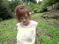 Guy with camera and Japanese MILF find a secluded place in the park where she plays with vibrator and sucks cock 10